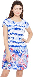 AASK Women's White and Multicolor Floral Printed Crepe Dress (AK_4160)