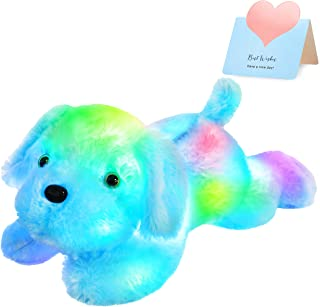WEWILL LED Puppy Stuffed Animal Creative Night Light Lovely Dog Glow Soft Plush Toy Gifts for Kids on Christmas Birthday H...