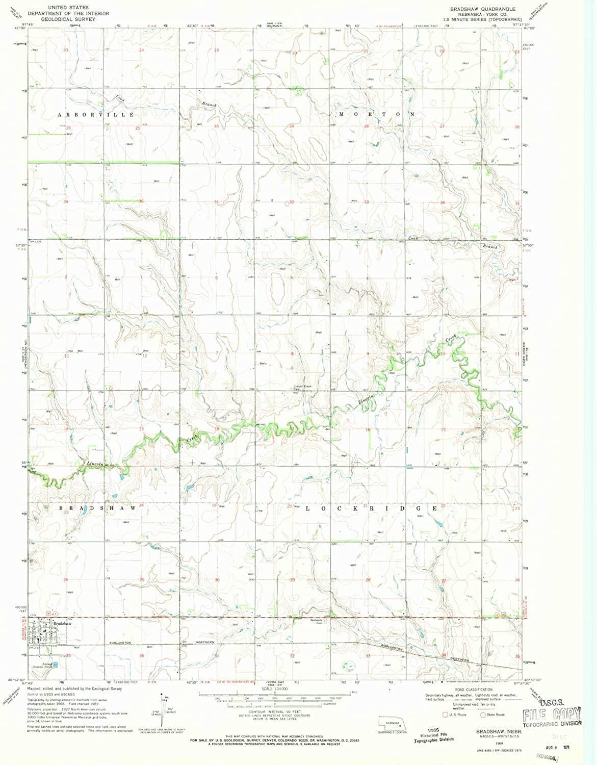 Bradshaw NE topo map, 1 24000 Scale, 7.5 X 7.5 Minute, Historical, 1969, Updated 1971, 26.7 x 22 in