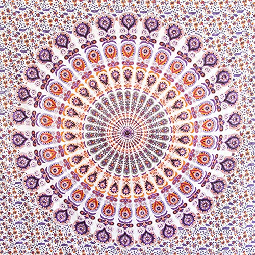 MOMOMUS Tapiz Mandala - 100% Algodón, Grande, Multiuso - Pareo/Toalla de Playa Gigante - Alfombra/Manta Antiarena XXL - 210x230 cm Violeta