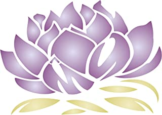 """Lotus Blossom Stencil - (size 7""""w x 4.75""""h) Reusable Wall Stencils for Painting - Best Quality Lotus Flower Stencil Ideas - Use on Walls, Floors, Fabrics, Glass, Wood, Terracotta, and More…"""