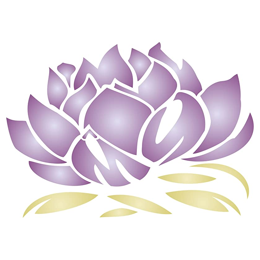 """Lotus Blossom Stencil - (size 9.75""""w x 6.75""""h) Reusable Wall Stencils for Painting - Best Quality Lotus Flower Stencil Ideas - Use on Walls, Floors, Fabrics, Glass, Wood, Terracotta, and More…"""