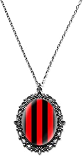 Art Print Steampunk Gothic Striped Pendant Necklace on Chain
