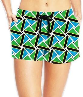 タンザニアの旗 サーフパンツ 水着 レディース ビーチショーツ 海水パンツ ショートパンツ 水陸両用 体型カバー メッシュインナー付き 吸汗速乾 ショート丈