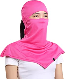 AIWOLU Balaclava for Women- Windproof Moisture Wicking Women's Full Face Mask Longer Elastic Breathable Neck Cover Hood for Cycling & Leisure Sports