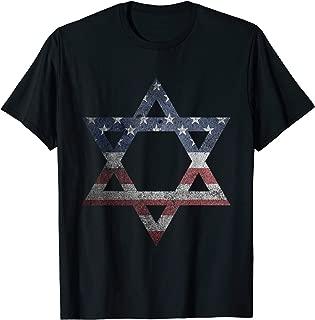 Distressed Star of David Jews Jewish Gifts USA American Flag T-Shirt