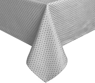 TEKTRUM Heavy Duty 70 X 70 inch Square Elegant Waffle Weave Check Jacquard Tablecloth Table Cover -Waterproof/Stain Resistant/Wrinkle Free - Great for Dinner, Banquet, Parties, Wedding (Grey)