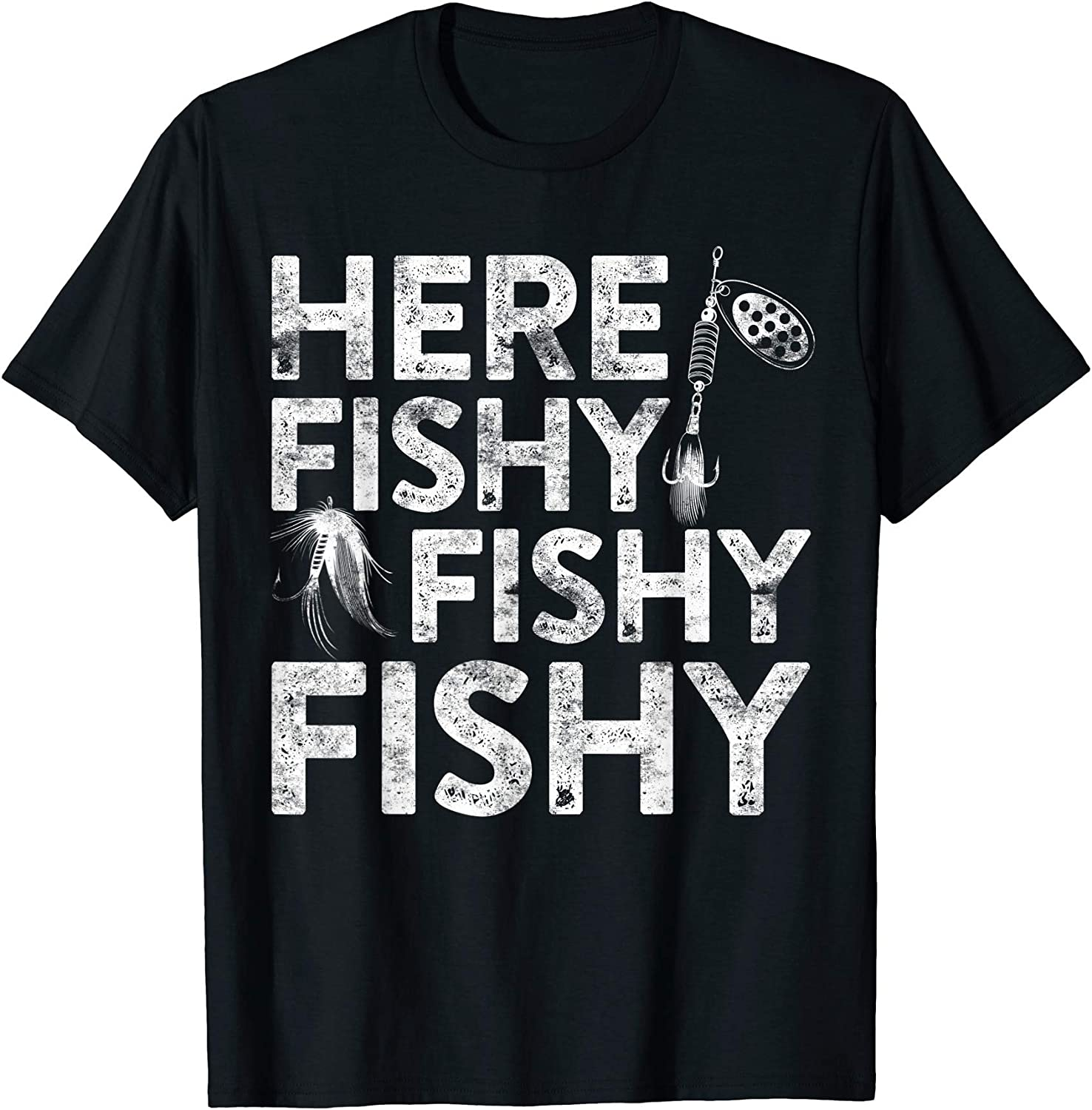 Here Fishy Fishy Fishy Mens Funny Fishing T Shirt Gift for Dad