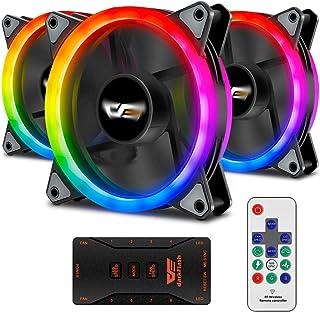 Aigo Aigo Aurora DR12 3IN1 Kit Case Fan 3-Pack RGB LED 120mm High Performance High Airflow Adjustable colorful PC CPU Comp...