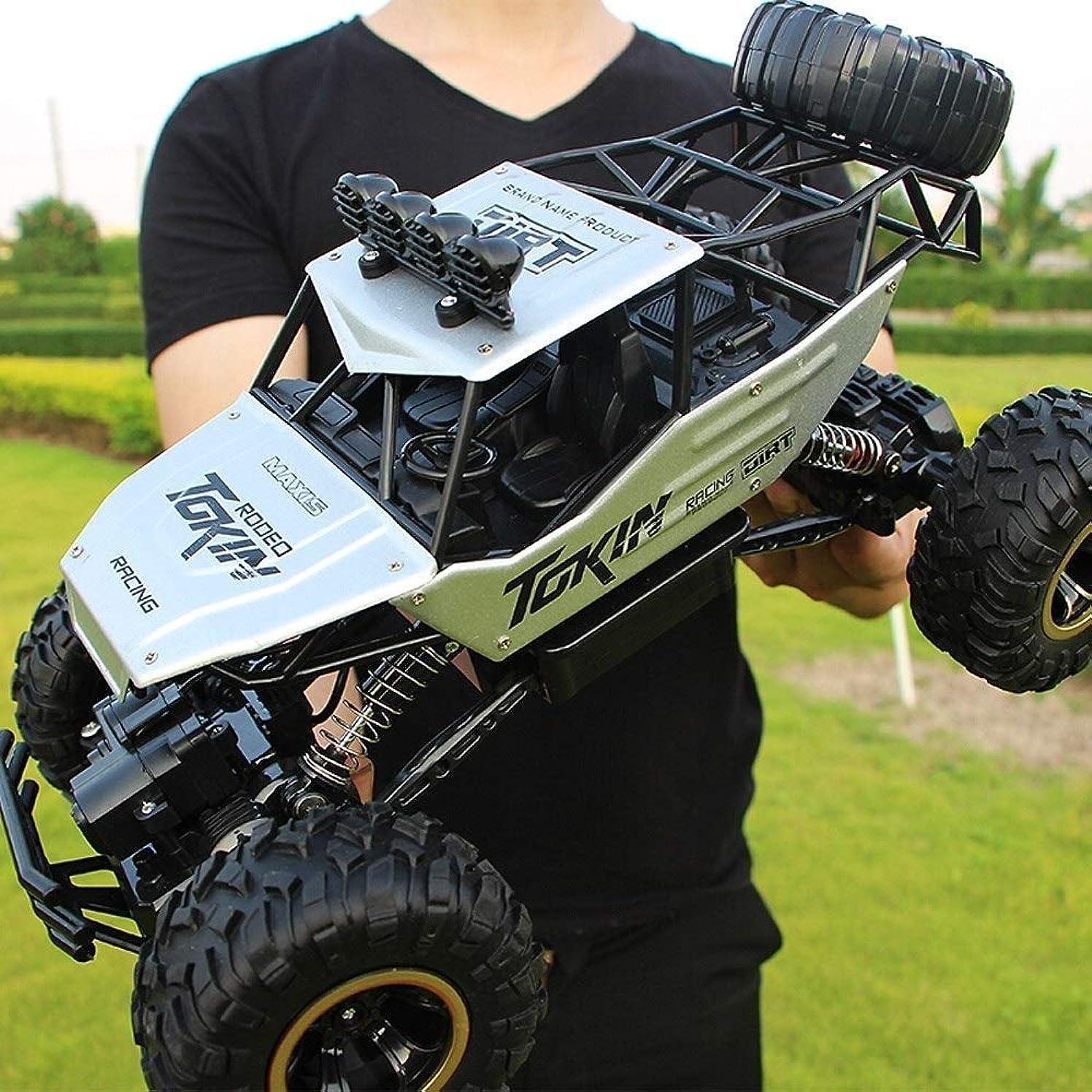 バレーボール彼女自身忠誠Zhangl 強力なクライミング能力ベストギフトのために子供と大人では2.4GHzの全地形合金オフロード車4WD高速充電式車の強力なプルバックモーター1時12スケールのRCリモートコントロールバギー