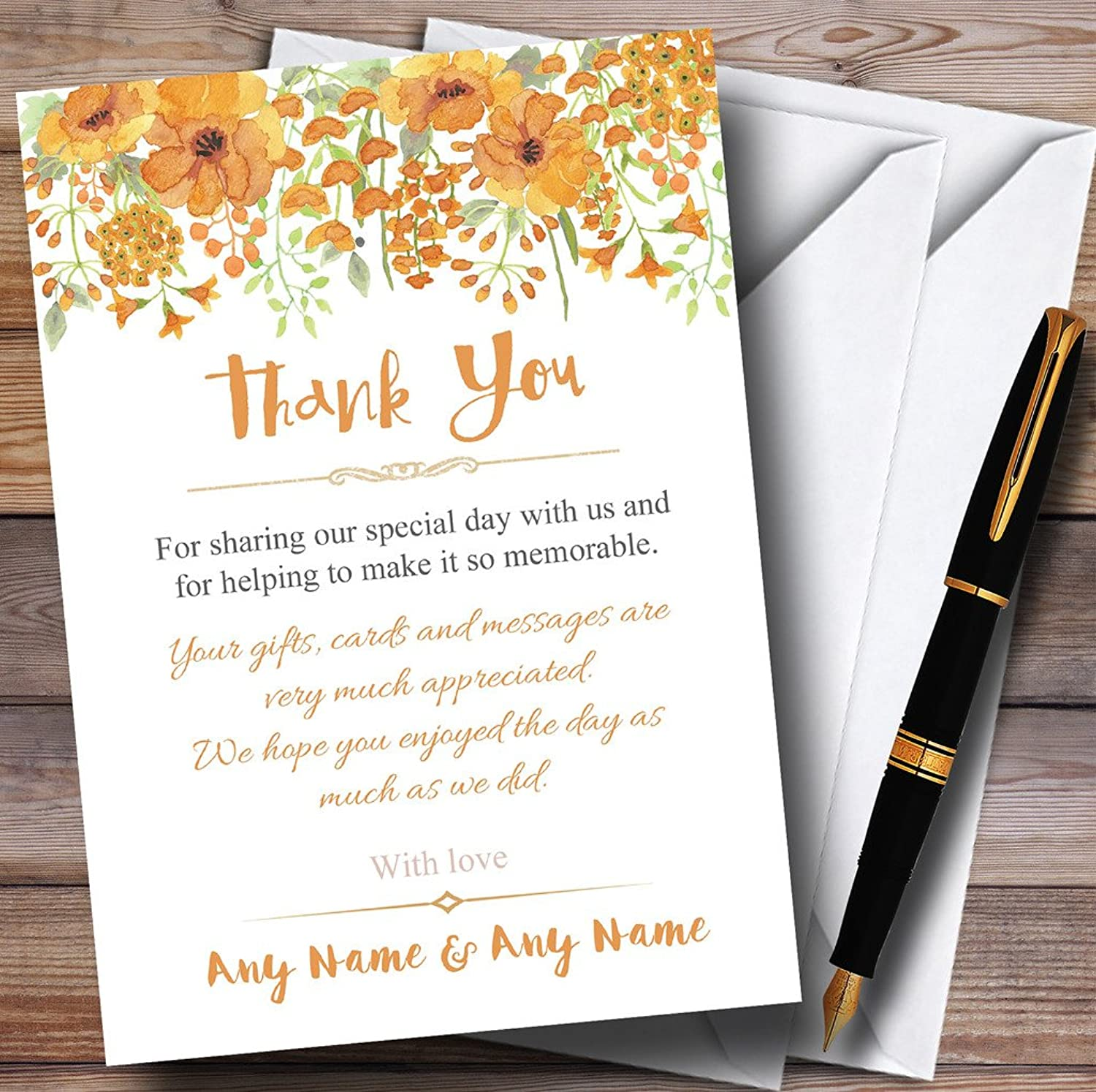 Watercolour Floral orange Personalised Wedding Stationery Thank You Cards