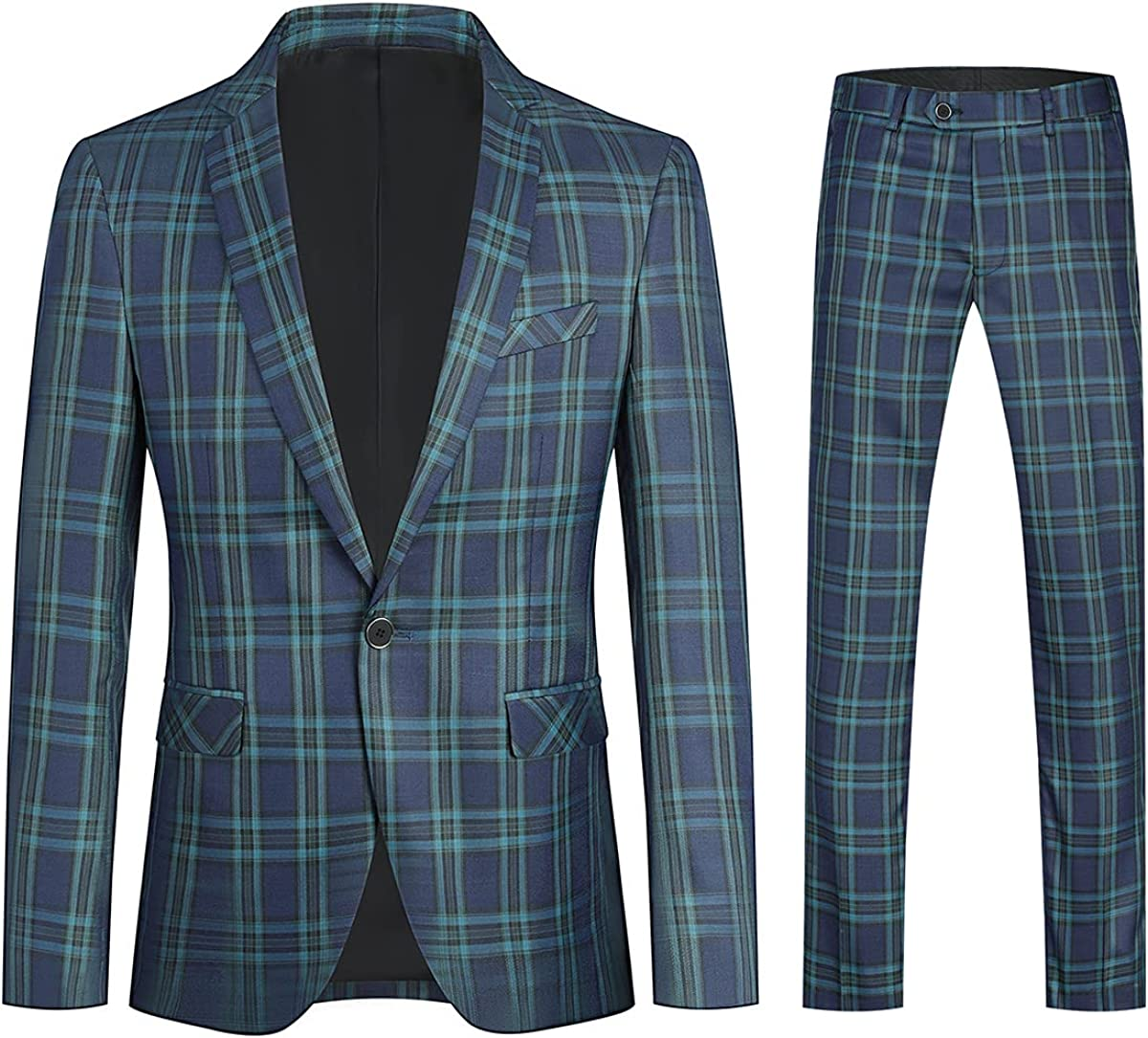 YFFUSHI Mens 2 Piece Suit Set Slim Cheap mail order sales Fit Plaid 1 Casual Ranking TOP19 For Button