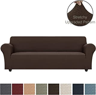 Obytex Stretch Sofa Cover Polyester and Spandex Upgrade Pattern Couch Covers Dog Cat Pet Slipcovers Furniture Protectors,Machine Washable (Brown, XL Sofa)