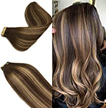 Labeh Tape in Hair Extensions Straight Multi Color Chocolate 4 27 4 Ba Chocolate Brown mixed Honey Blonde Remy Tape in Human Hair Extensions 20pcs 50g 18inch