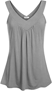Ninedaily Women Comfy Sleeveless Tunic Top Pleated V Neck Tanks Vest Summer