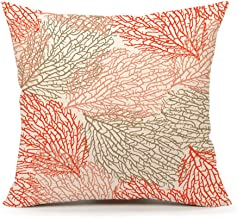 4TH Emotion Coral Beach Nautical Summer Decorative Throw Pillow Cover Cushion Case 18 x 18 Inch Cotton Linen