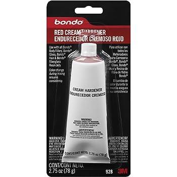 Bondo Red Cream Hardener, Color Change During Mixing Ensures Consistency, 2.75 oz