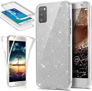 Surakey Beschermhoes voor Samsung Galaxy A41, transparant, zacht, van TPU-siliconen, met glitter, zeer dun, schokbestendi...