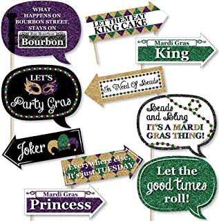 Funny Mardi Gras - Photo Booth Props Kit - 10 Piece
