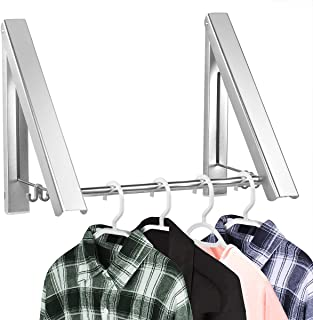 Retractable Clothes Racks - Laundry Hangers Wall Mount - Wall Mounted Folding Clothes Hanger Drying Rack - Waterproof Indoor Outdoor Wall Mounted Clothes Hanger, 2 Racks with Rod