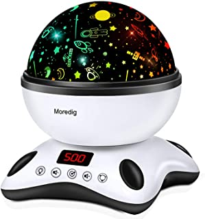 Moredig Night Light Projector Remote Control and Timer Design Projection lamp, Built-in 12 Light Songs 360 Degree Rotating 8 Colorful Lights for Children Kids Birthday, Parties - Black White