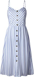 UBANT Women's Dress Summer Spaghetti Strap Sundress Casual Floral Midi Backless Button Up Swing Dresses with Pockets