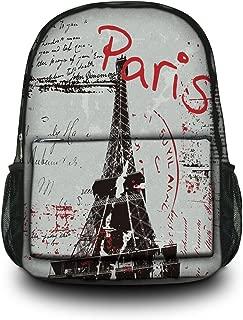 Fashion Paris Unisex Canvas Rucksack Vintage Computer Laptop Backpack School Backpack Shoulder Bag (Paris) CPB-64