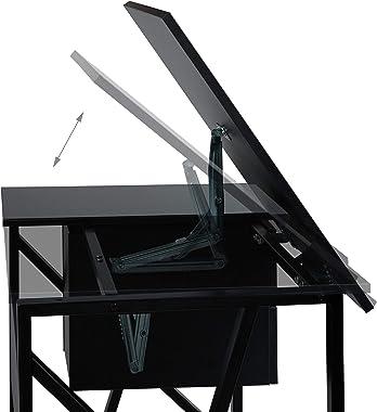 Relaxdays Noir Bureau avec pupitre inclinable, réglable, Table de Laptop ou de Dessin, 75 x 110 x 55 cm, Panneau de Particule
