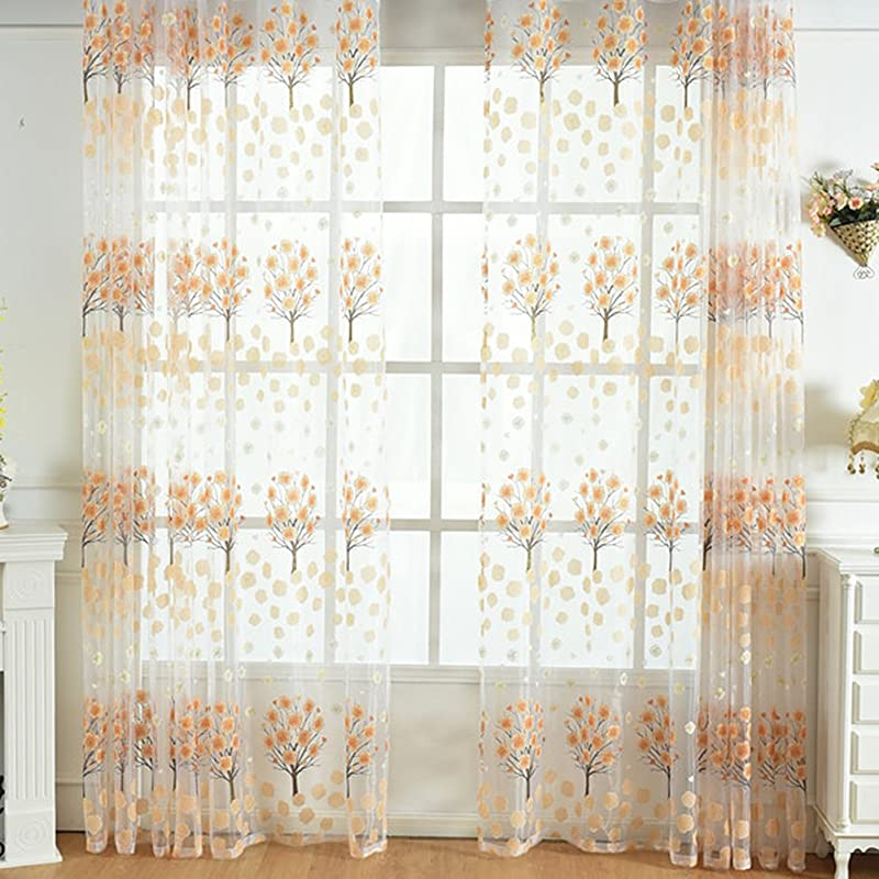 Aside Bside Countryside Sheer Exquisite Flower Print Window Curtains Burnt Out Design Rod Pocket Top Tulle Panels For Living Room Bedroom 1 Panel W 50 X L 84 Inch Orange