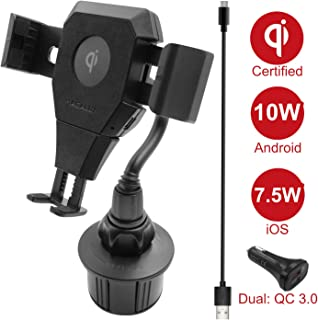 Macally Wireless Charging Car Mount, Cup Holder Phone Mount Charger Compatible with Fast Charging Qi 10W 7.5W 5W for iPhone 11 Max Pro Xs XS Max XR X 8 8 Plus Samsung Galaxy S10+ S10e S9 S8 Note etc.