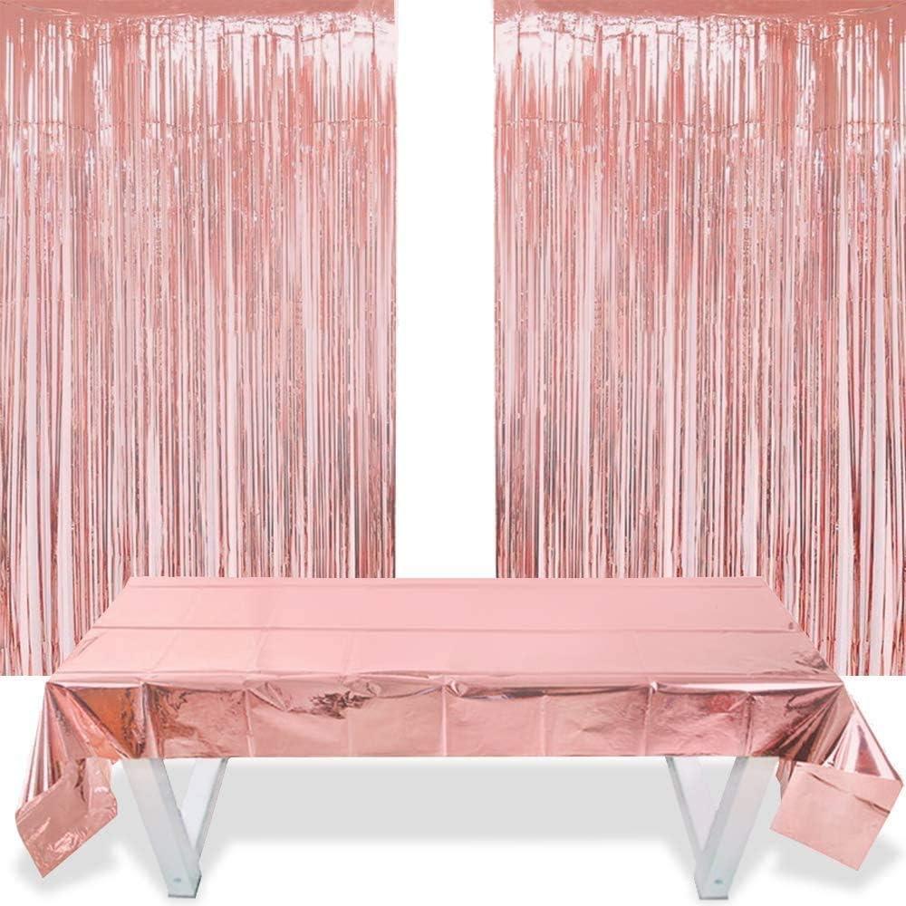 FLZONE 2 Piezas Cortinas Flecos Oro Rosa y 1 Pieza Mantel de Aluminio de 1 m * 2,7 m para Decoración de Festa de Boda,Cumpleaños,Baby Shower