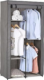 Garde-Robe Adam en Tissu Gris, avec 2 tringles à vêtements et 3 étagères