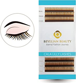 BEYELIAN Cala Lilly Lashes Brown Color Macaron Lashes 0.07mm Thickness C Curl Mix Length Colored Individual Eyelash Extensions XD Volume Lashing