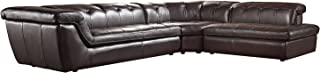 Soflex Tegan-Lu Brown Full Italian Leather Sectional Sofa Modern Contemporary (Right)