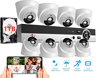 Tomvision Full HD 1080P 8 Channels DVR CCTV Kit - 8 Camera Indoor Surveillance System with 1TB