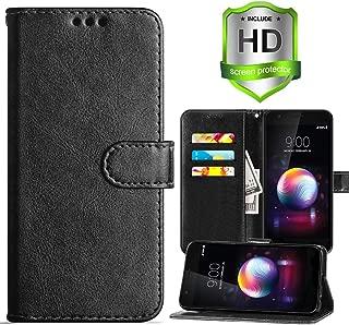 LG K30 Wallet Case,LG Harmony 2 Case,LG K10 2018 Case,LG Phoenix Plus/LG Premier Pro LTE Case,PU Leather Card Slots Flip Cover Lanyard Holster w/Kickstand and HD Screen Protector,Black