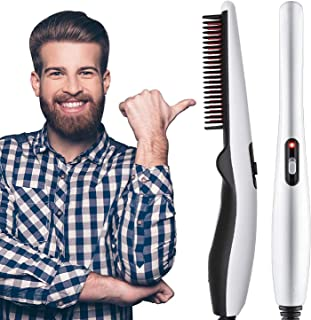 BLOOM HOUSE™ Beard and Hair Straightening Brush Electric Comb for Men with Side Hair Detangling, Curly Hair Straightening for Beard Style, Hair Style, Women Short Hair Straightening