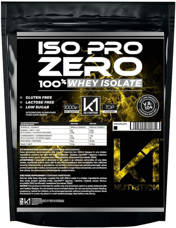 ISO PRO ZERO 1 Kg Protein 100% Whey Isolate con Vb104 - K1 Nutrition SIN GLUTEN, SIN LACTOSA, AZÚCAR BAJO, (FRESA)