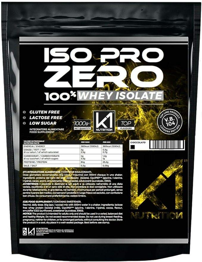 ISO PRO ZERO 1 Kg Protein 100% Whey Isolate con Vb104 - K1 Nutrition SIN GLUTEN, SIN LACTOSA, AZÚCAR BAJO, (CHOCOLATE COCO)