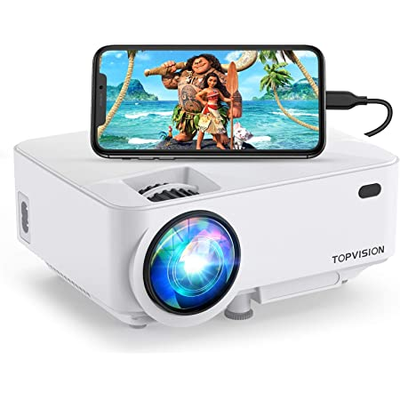 Mini Projector, TOPVISION 4000LUX Outdoor Movie Projector with Synchronize Smart Phone Screen,Full HD 1080P Supported LED Projector, Compatible with Fire Stick,HDMI,VGA,USB,TV,Box,Laptop,DVD