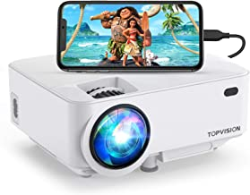 Mini Projector, TOPVISION 4000LUX Outdoor Movie Projector with Screen Mirroring,Full HD..