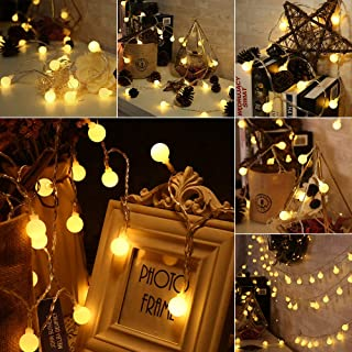 BrizLabs Globe String Lights, 2 Pack 50 LED 17.07ft Ball String Light Battery Powered, Waterproof 8 Modes Globe Fairy Light for Christmas, Indoor/Outdoor, Wedding Party, Dorm Room, Bedroom, Warm White