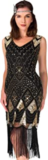 فستان كوكتيل نسائي لعام 1920 - فستان Gatsby Sequin Art Deco Flapper