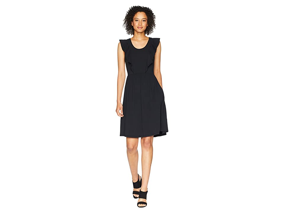 Mod-o-doc Cotton Modal Spandex Jersey Flutter Sleeve Tank Dress with Pockets (Black) Women