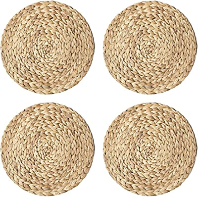 YOEDAF 4Pcs/Set Round Woven Placemats Straw Braid Coaster Non Slip Cup Cushion Heat Resistant Table Mats Kitchen Gadget Tools