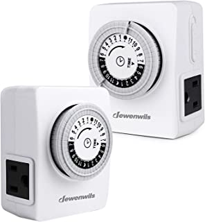 DEWENWILS 24 Hour Indoor Outlet Timer, Mechanical Light Timer with 2 Grounded Outlets, Programmable Electrical Timer for Lamp, Aquarium Light 15 A 1/2 HP ETL Listed, 2 Pack