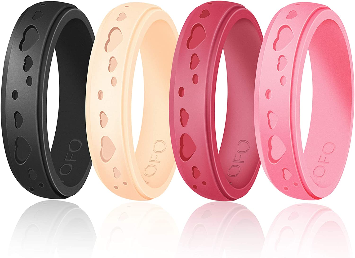 Silicone Rings for Women Stylish Heart Design Rubber Wedding Bands Stackable Ring Hypoallergenic Unique Flexible Womens Day Love Silicone Rings