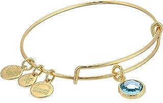 Alex and Ani Women's Swarovski Color Code Bangle March Aquamarine Bracelet, Shiny Gold,Expandable