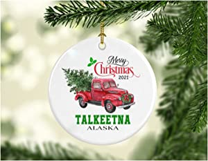 Christmas Decoration Tree Merry Christmas Ornament 2021 Talkeetna Alaska Funny Gift Xmas Holiday as a Family Pretty Rustic First Christmas in Our New Home MDF Plastic 3