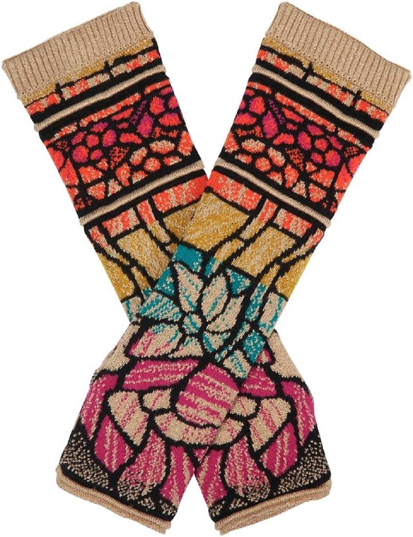 IVKO Jacquard Pattern Wrist Warmers in Black Gold Knit Fine Merino Wool Gloves Pullwarmers
